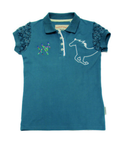 Horseware Girls Pique Polo - Brittany Blue
