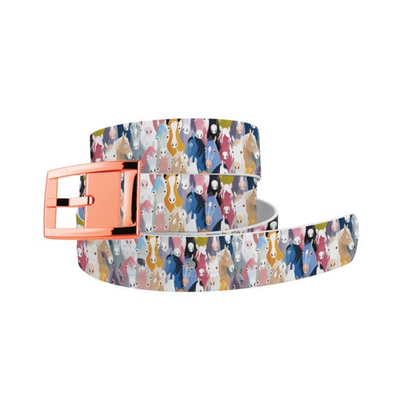 Horse Heads Belt with Rose Gold Buckle Combo