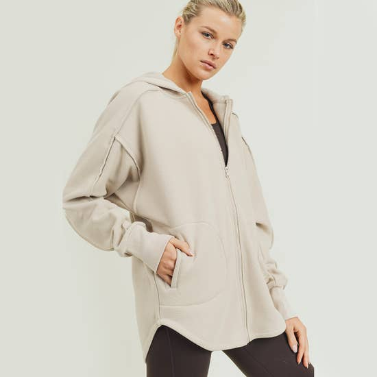 Longline zip up hoodie jacket - Natural