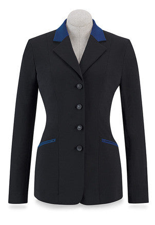 RJ Classics Victory Soft Shell Show Coat - Black with Blue Collar