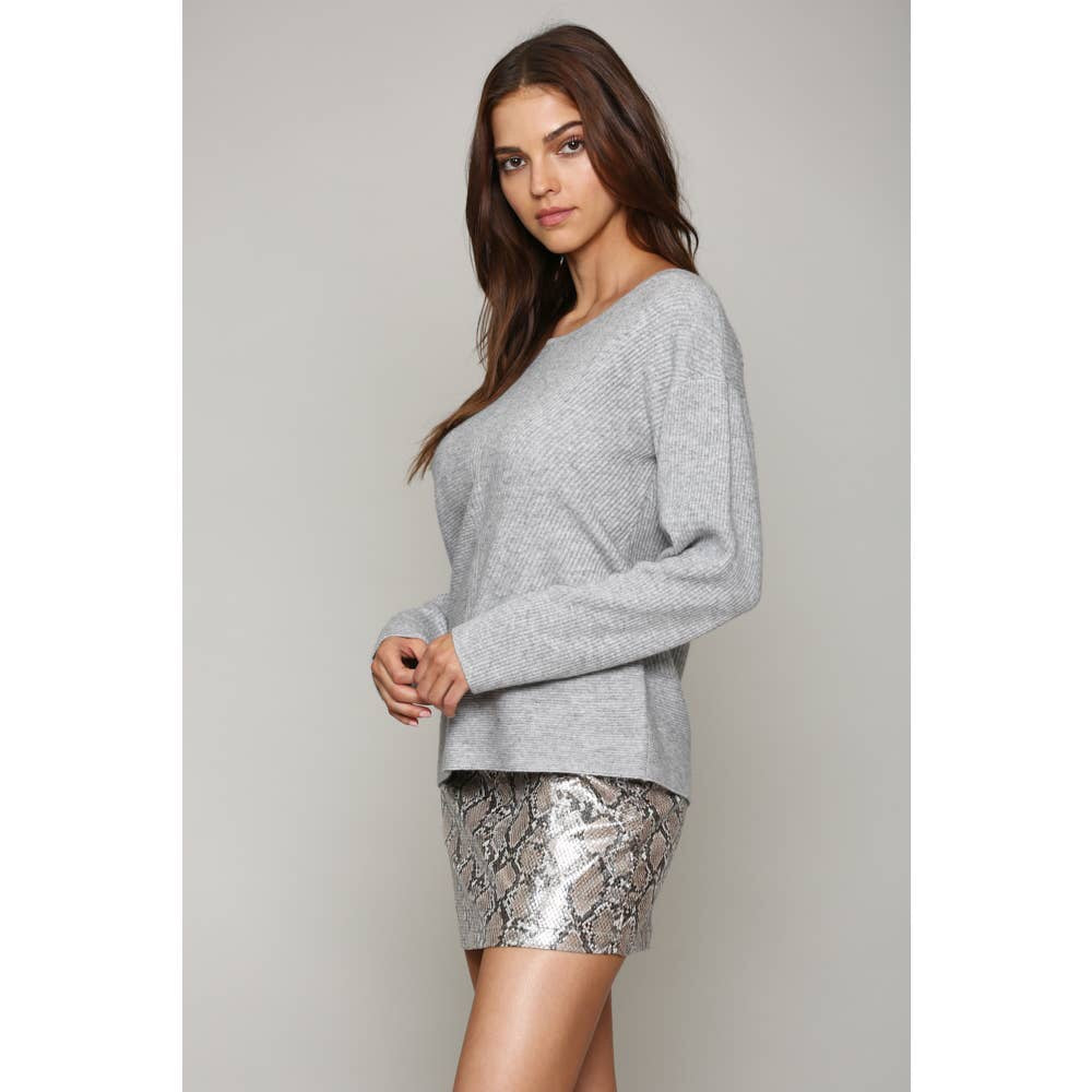 CASHMERE BLEND RIBBED SWEATER - Grey