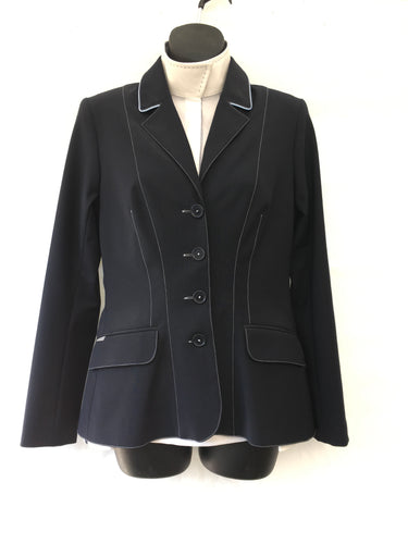 Winston Show Coat - Navy with light blue piping and stitching