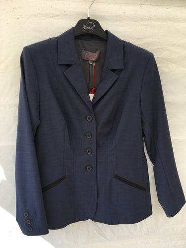 Winston Show Coat - Mid Blue with Dark Grey Trimmed Pockets