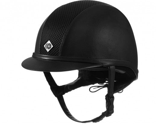 Charles Owen Ayr8 All Black Leather-Look Helmet