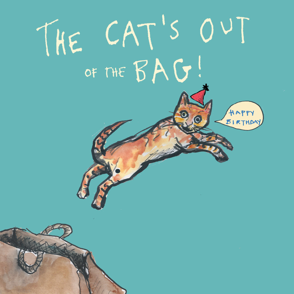 'The Cat's Out Of The Bag' Greetings Card