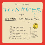 'Teenage Birthday Checklist' Greetings Card