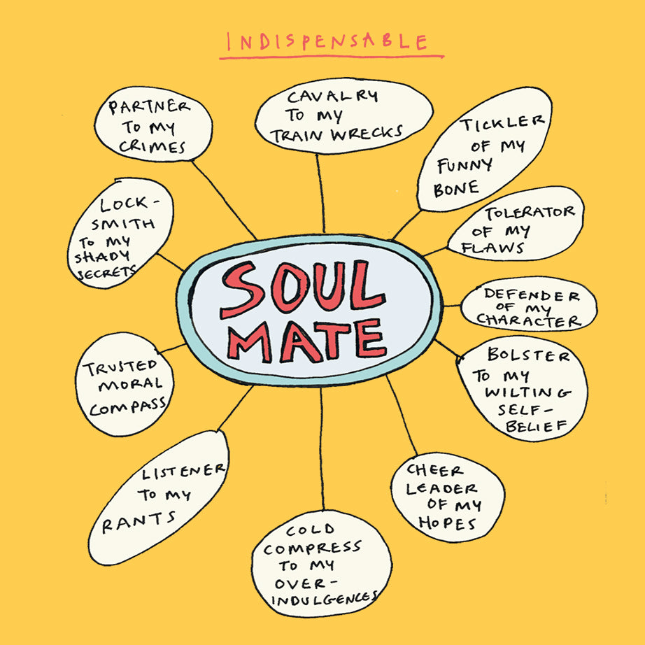 'Soulmate Mindmap' Greetings Card, Mindmap