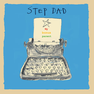 'Step Dad Typewriter' Greetings Card