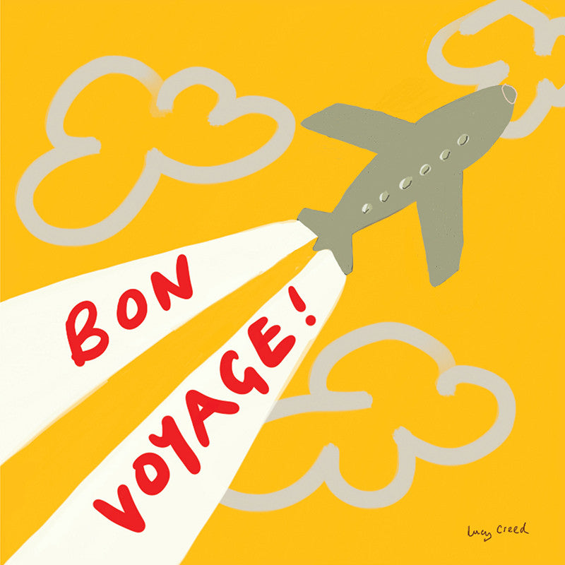 Aeroplane illustration card on a yellow sky with the words Bon Voyage in red written in the jet trails.
