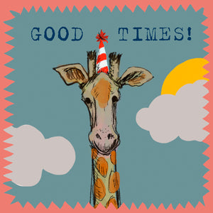 'Good Times Giraffe ' Greetings Card