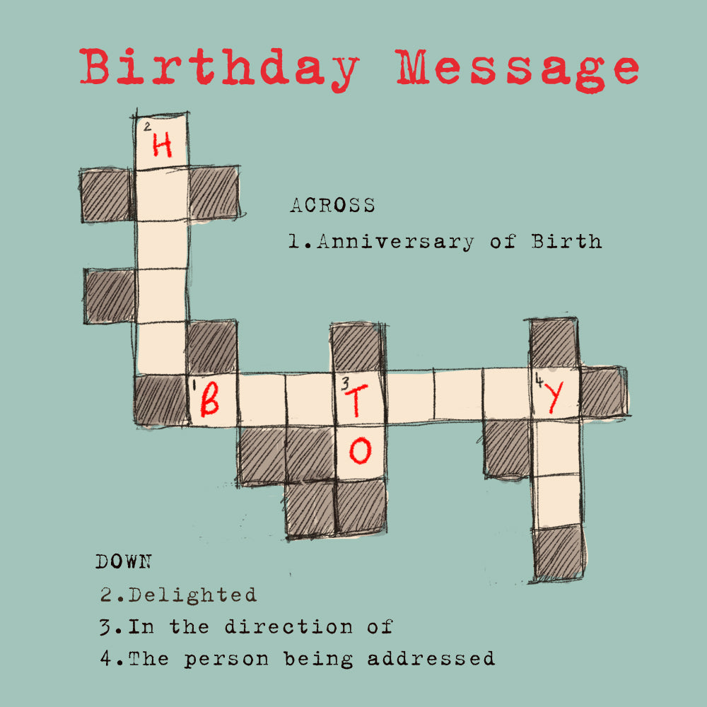 'Happy Birthday Crossword' Greetings Card