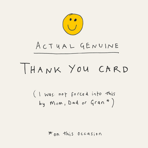 Yellow Smiley on white Thank You card