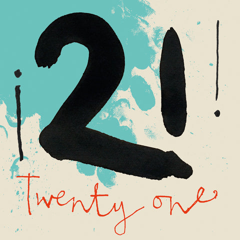 Twenty First Birthday, Greetings card, Calligraphy, Miroesque colours