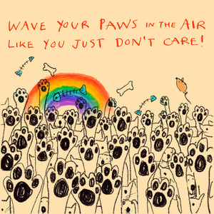 'Wave Your Paws in the Air ' Greetings Card