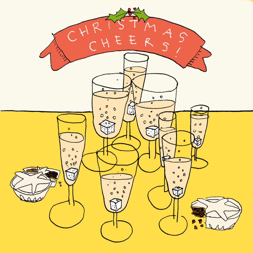 Champagne glasses, funny illustration Christmas greetings card