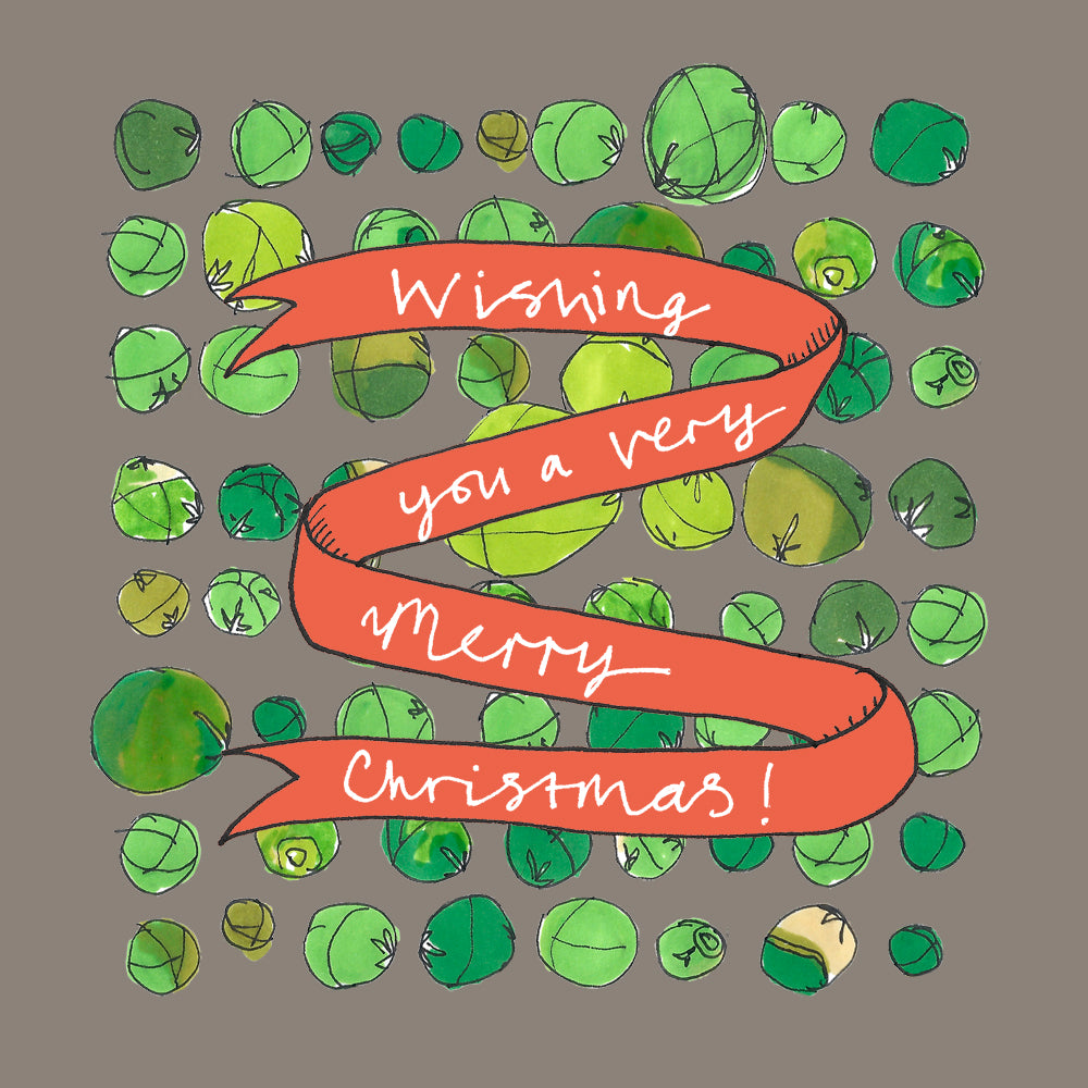 Illustrated Brussel Sprouts Christmas card, with red Christmas banner