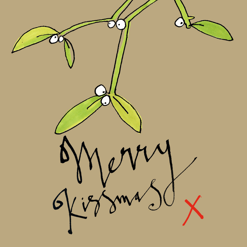 Funny illustration Mistletoe Christmas greetings card