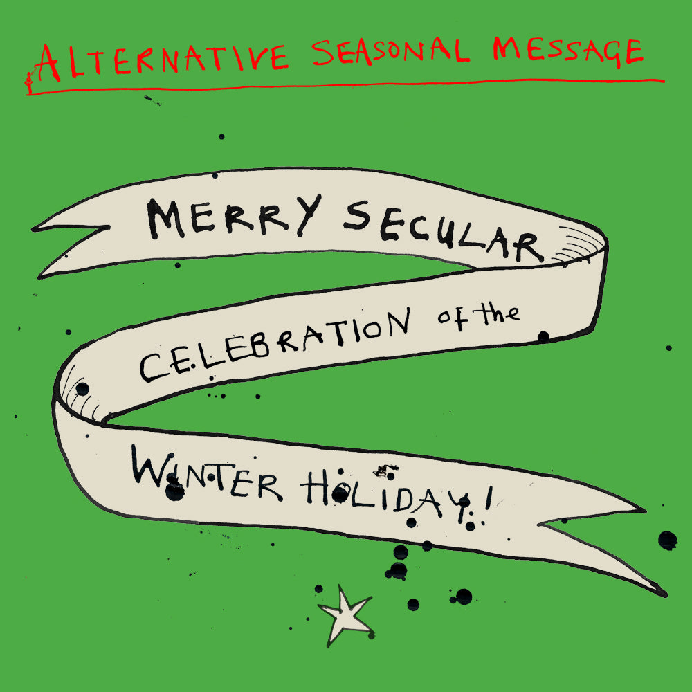 Funny  secular Christmas card. Greetings card, illustration