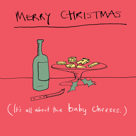Funny illustration Christmas greetings card. Cheeses