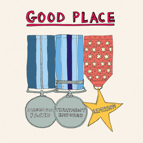 Medals for diagnosis, treatment and remission. Cancer support greetings card