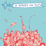 Illustration, cheering crowds and aeroplane with banner, celebration greetings card