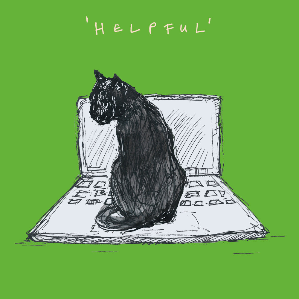 Black cat sitting on laptop keyboard. Illustration, Greetings card