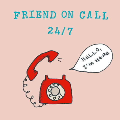 Red telephone ringing, 'Hello, I'm here' speech bubble, greetings card