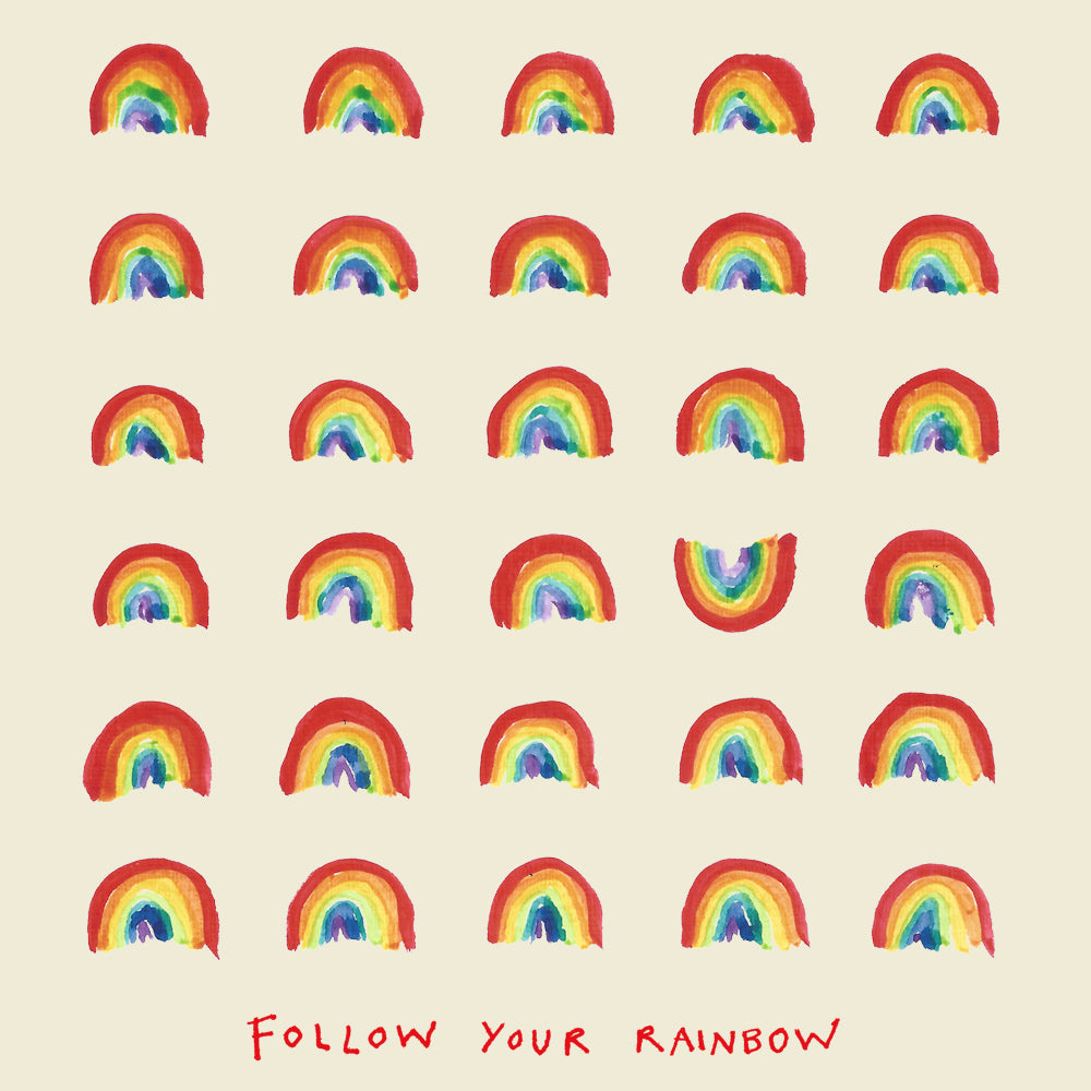 Multiple rainbows, one upside down. Greetings card
