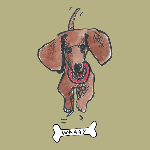 Dachshund, sausage dog with bone illustration. Greetings card