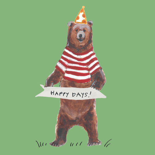 "Grizzly bear illustration in striped top and hat with sign saying 'Happy Days"", Greetings card"