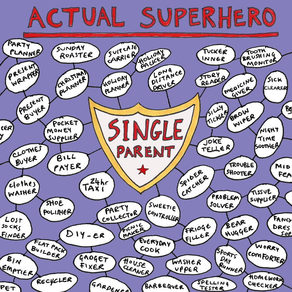 Card showing the words Actual Superhero; Single Parent and a huge list of all the things that they do everyday