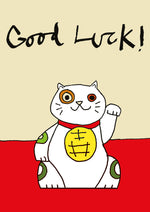 A4 Good Luck Cat card - FP656Poet & PainterCards