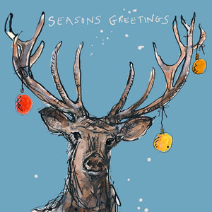 Christmas Stag Blue FP676Poet & PainterCards