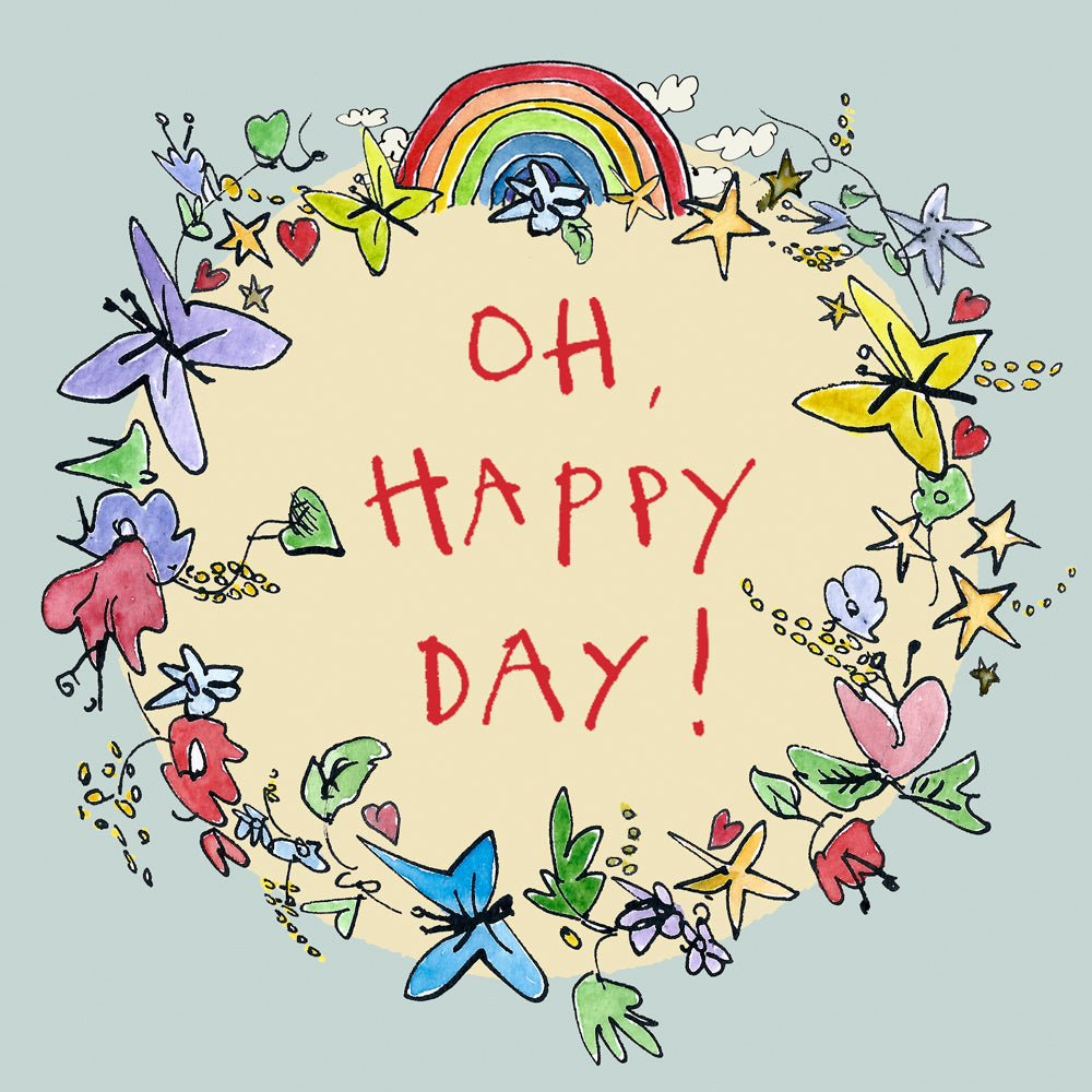 FP732 Garland 'Oh Happy Day' cardPoet & PainterCards