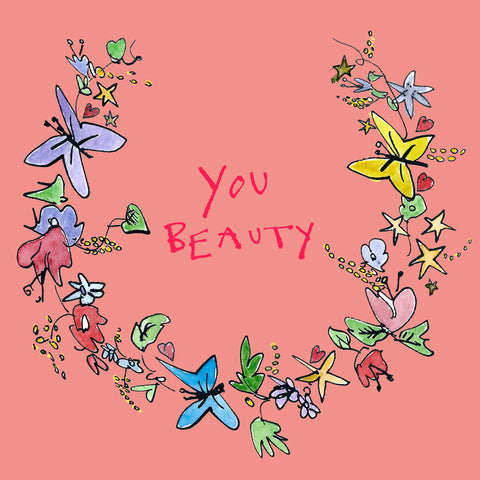 FP734 Garland 'You Beauty' cardPoet & PainterCards
