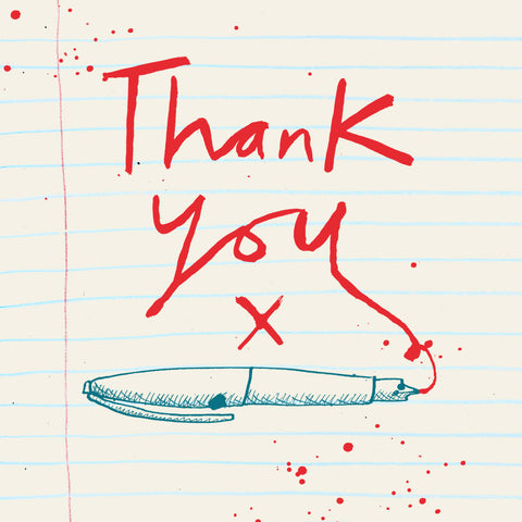 'Thank You Red Ink' Greetings Card