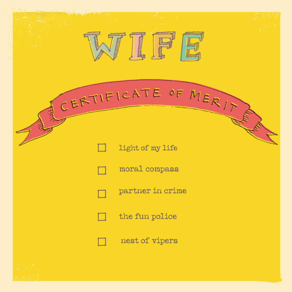 'Wife Certificate of Merit' Greetings Card