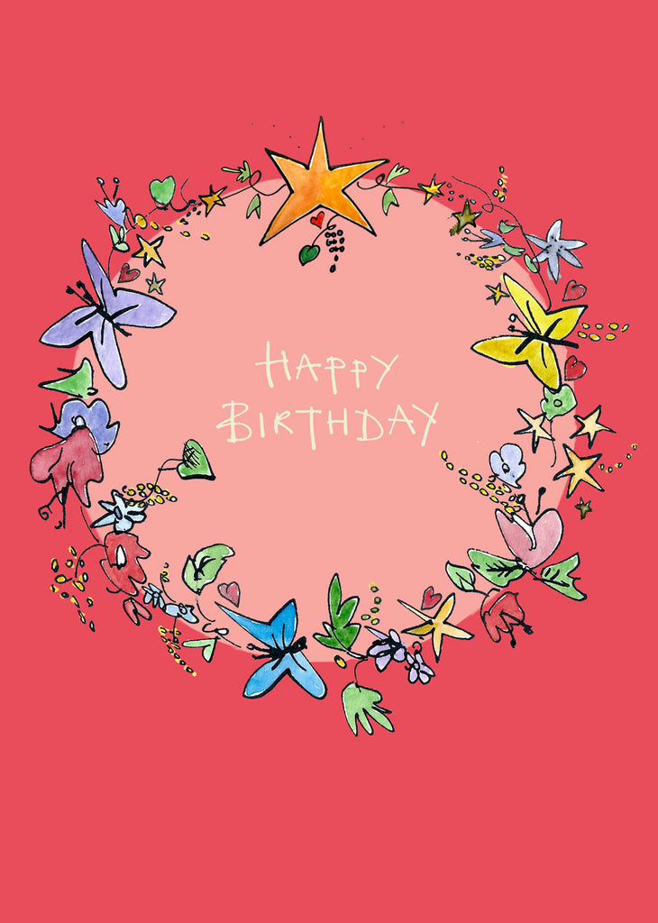 'Happy Birthday Garland' A4 card, FP778