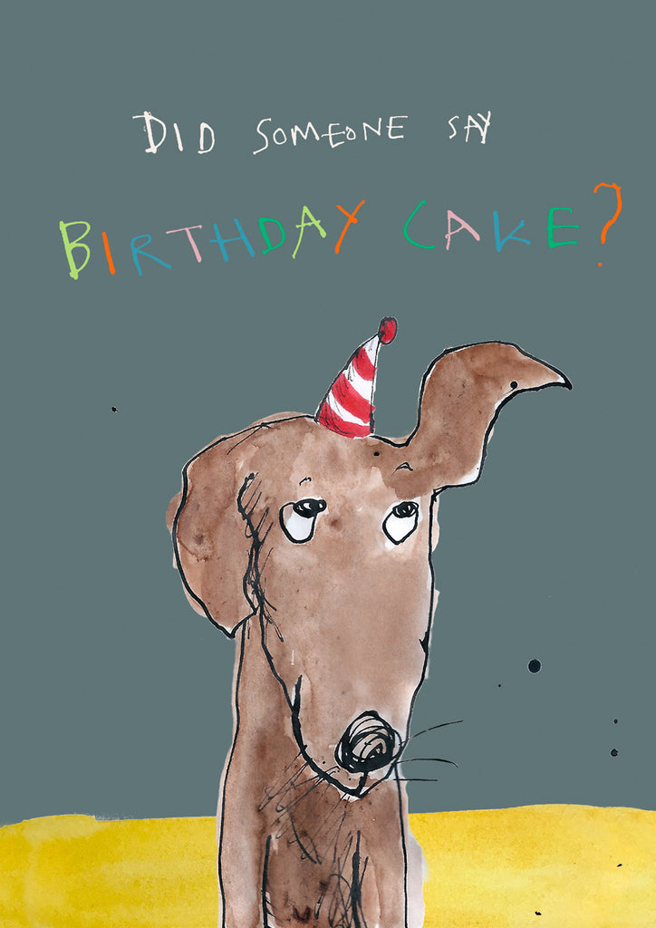 'Birthday Cake Dog' A4 card, FP862