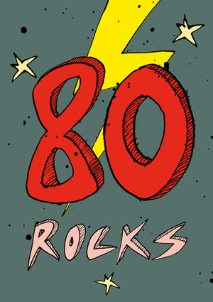 Load image into Gallery viewer, '80 Rocks!' A4 card, FP863