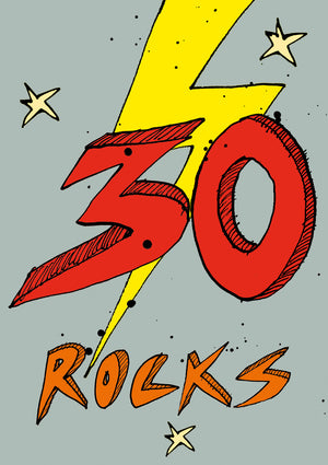 Load image into Gallery viewer, '30 Rocks!' A4 card, FP864