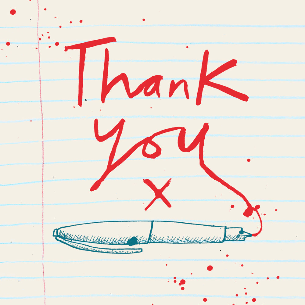 Thank You Red Pen- Pack of 6 Notecards FP865