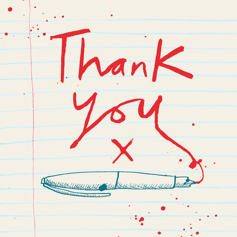 'Thank You Red Pen' Multi- Pack of 6 Notecards