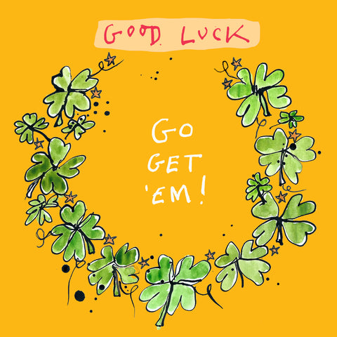 'Good Luck' Greetings Card, Garland