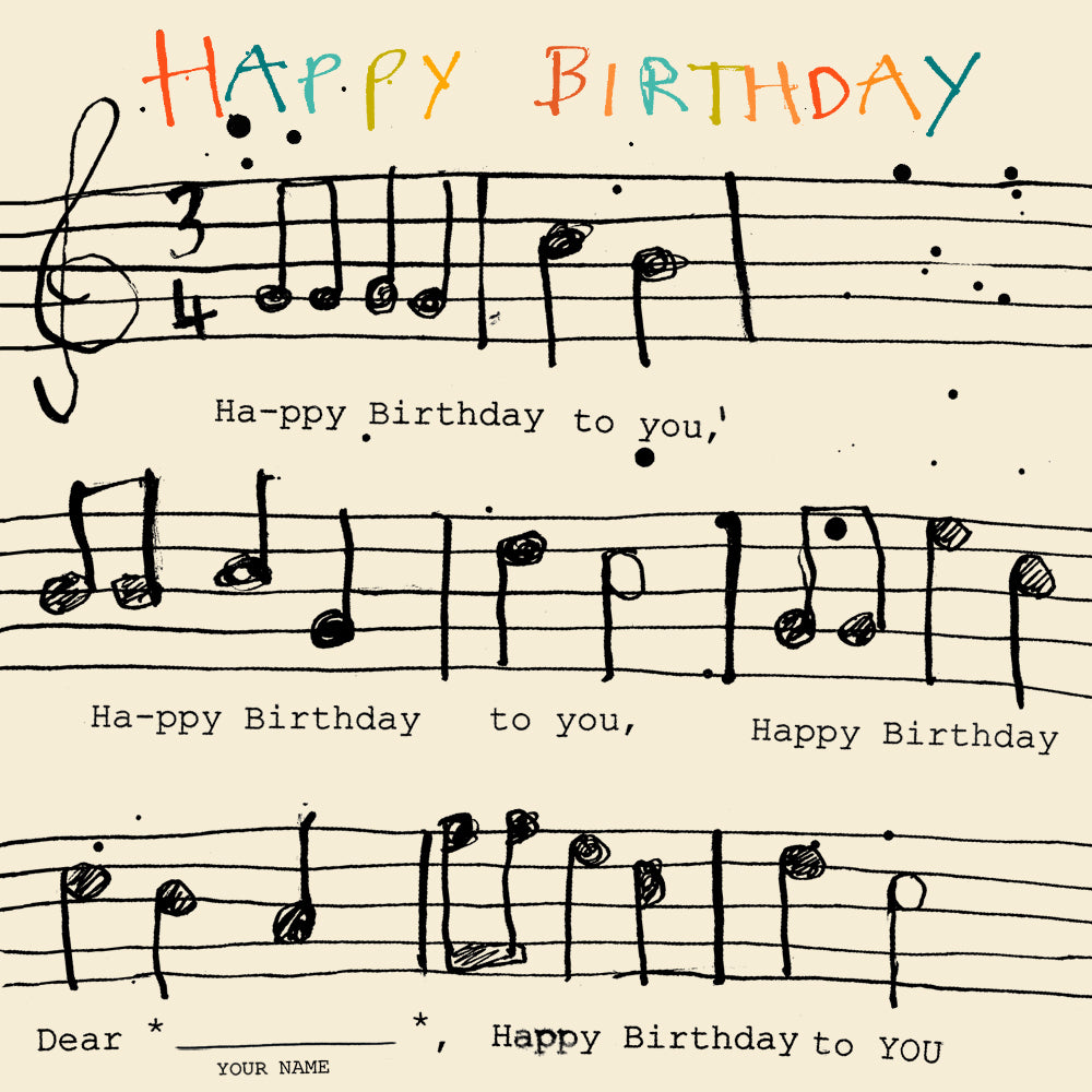 'Happy Birthday Music' card, FP919