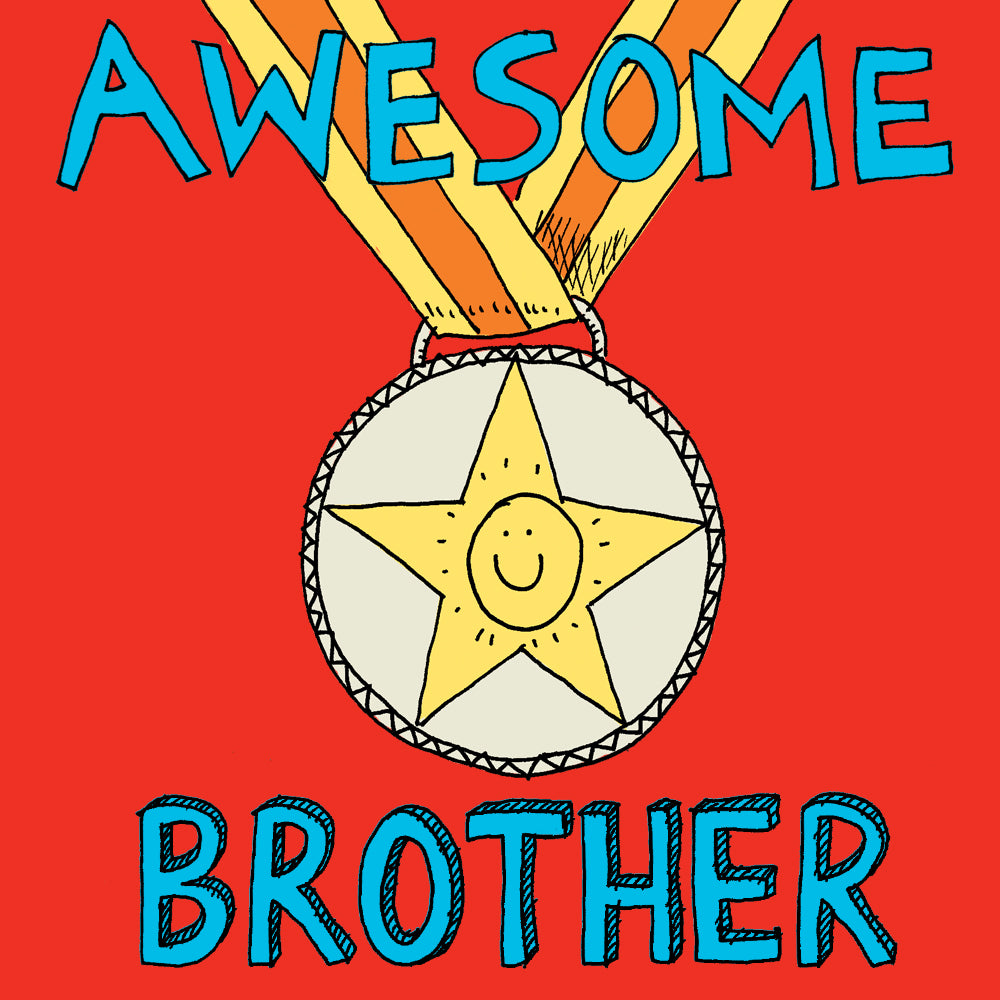 'Awesome Brother' Medal Card
