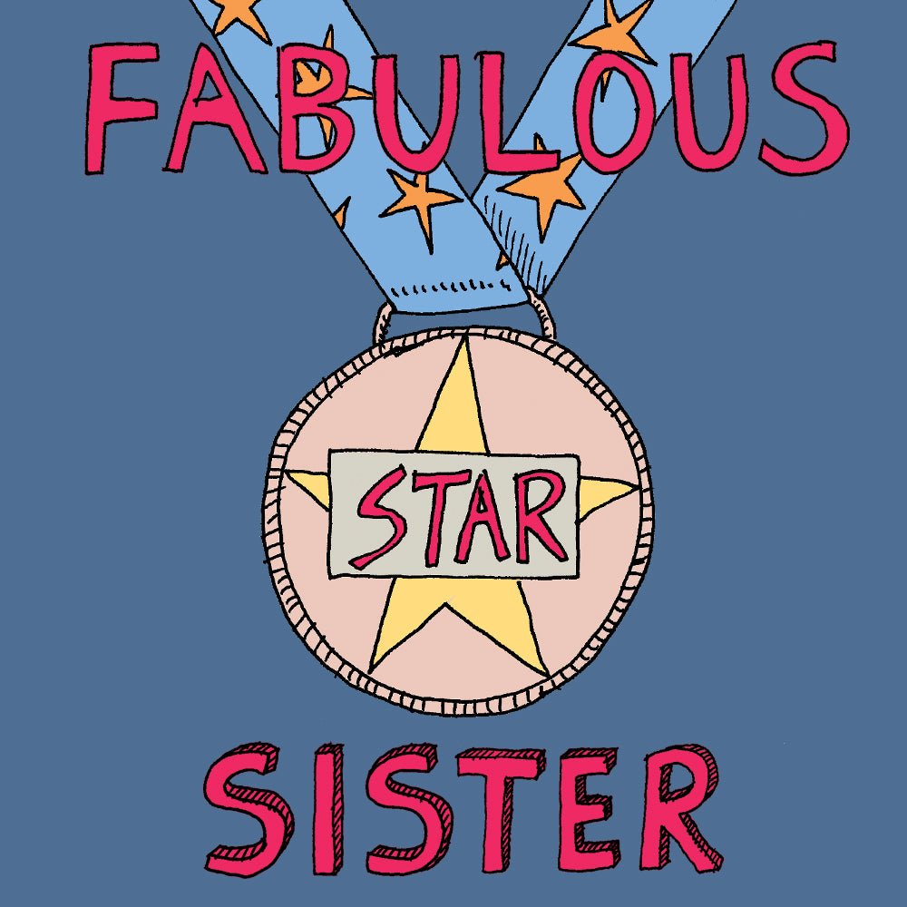 'Fabulous Sister' Greetings Card, Medal