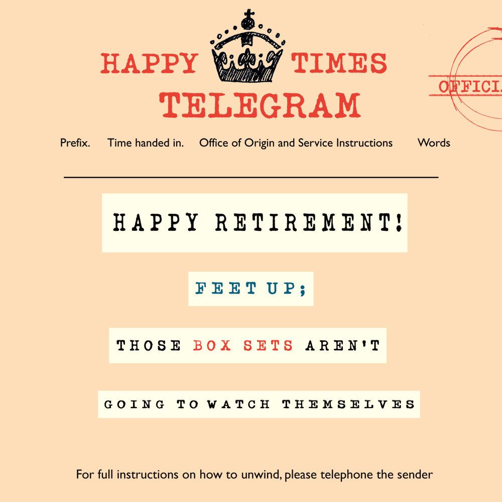 'Happy Retirement' Greetings Card, Telegraphic