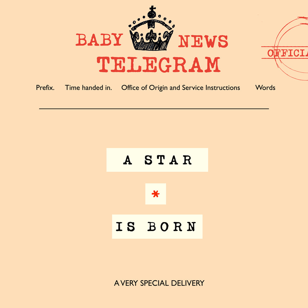 'A Star is Born' New Baby Card, Telegraphic