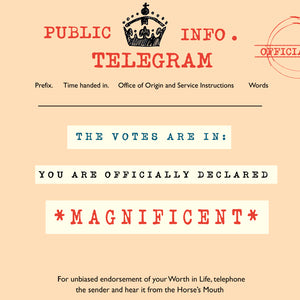 'Magnificent' Greetings Card, Telegraphic